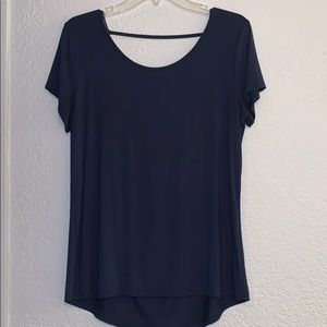 BKE red navy blue blouse